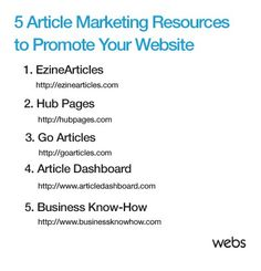 5 Article Marketing Resources to Promote Your Website