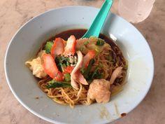Wonton noodles along Lebuh Chulia opposite the rainforest bakery.