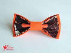 Купить Бабочка галстук рыже-коричневая, хлопок - рыжий, абстрактный, коричневый, оранжевый, бабочка
