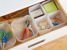 Genius organization idea: Make DIY small bins to organize a drawer out of the bottom of milk jugs