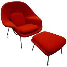 Eero Saarinen 'Womb' Lounge Chair and Ottoman | 1stdibs.com