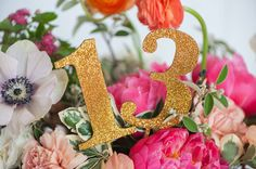 GOLD GLITTER or WOOD table numbers for weddings by emilysteffen, $55.00