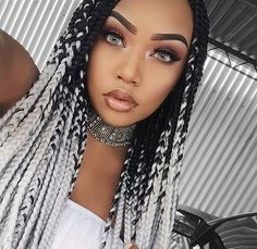 Top 60 All the Rage Looks with Long Box Braids - Hairstyles Trends Grey Box Braids, Ombre Box Braids, Colored Box Braids, Big Box Braids, Black Girl Braids, Box Braids Styling, Braids For Black Hair, Girls Braids, Braids With Color