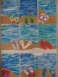 Art Lessons For Kids, Projects For Kids, Art For Kids, 3 Arts, Teaching, Ocean Paintings, School, Summer, Graphic Design