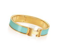 Clic H Armband aus Email in Atollblau, mit Goldauflage (Durchmesser: 6,5 cm)