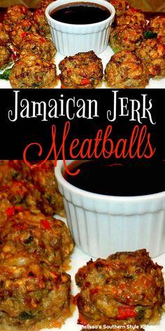 Jamaican Jerk Meatballs – Amazing World Food and Recipes Jamaican Cuisine, Jamaican Dishes, Jamaican Recipes, Jamaican Appetizers, Jamaican Rice, Meat Recipes, Appetizer Recipes, Cooking Recipes, Meatball Recipes