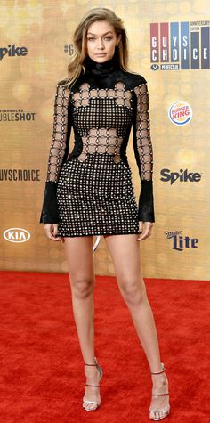 • Gigi Hadid slayed the red carpet at Spike TV's Guys Choice Awards 2016 in a sexy high-neck see-through David Koma micro mini dress •