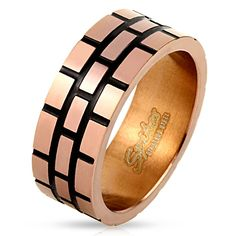 STR-0400 Stainless Steel Black Lined Square Coffee IP Ring -- Quickly view this special deal, click the image : Women's Fashion for FREE