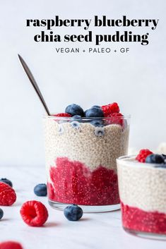 This raspberry blueberry chia seed pudding is SO easy to make, super healthy, and festive! It requires only a few simple ingredients and is vegan + paleo! Healthy Cookies, Healthy Dessert Recipes, Whole Food Recipes, Delicious Desserts, Snack Recipes, Snacks, Breakfast Recipes, Kitchen Recipes, Paleo Recipes