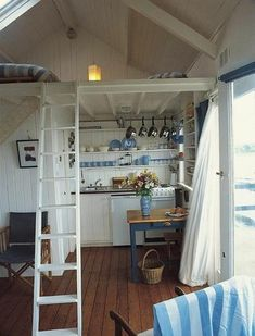Loft in a Cabin Tiny House Loft, Tiny House Living, Tiny Cabins, Cabins And Cottages, Rustic Shed, Small Loft, Cabin Interiors, House Inside, Tiny Spaces