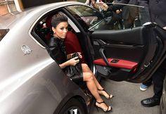 Enchanting actress Eva Longoria arrives at Taormina Film Festival in a Maserati Ghibli Grigio Metallo.