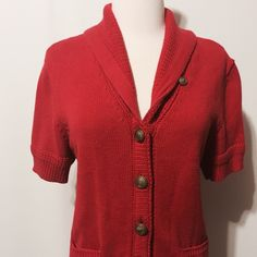 """Ralph Lauren Red Knit Short Sleeve Cardigan Classic beauty! Shawl collar, 'brass' buttons, textured and ribbed cuff and hem, 2 pockets. 100% cotton Hand wash 38"""" bust 24""""overall length Ralph Lauren Sweaters Cardigans"""