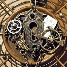 PORTAL~Steampunk Assemblage/Altered Art Vtg Key Hole Watch Dial Necklace-OOAK