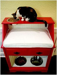 Cat Food Station DIY Pet Station for both a cat and a dog. Just what I need to keep my dogs out of the cat food. Pet Station, Cat Feeding Station, Pet Beds, Dog Bed, Cat Room, Pet Furniture, Animal Projects, Diy Projects, Chinchilla