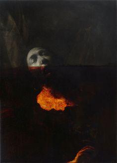 NICOLA SAMORI. Untitled, 2012, oil, sulfur, and fire on copper