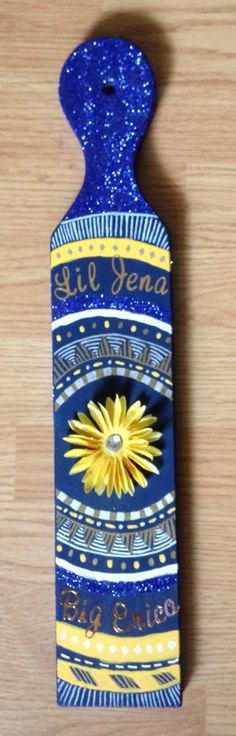 Tri delta paddle  Delta delta delta, sunflower, sliver, gold, blue, yellow, big and little, tribal print, sorority, painting, crafting