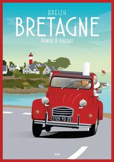 Bretagne - Just Retro Poster, Poster Vintage, Vintage Travel Posters, Vintage Images, Retro Vintage, Vintage Quotes, Vintage Music, Vintage Black, Beach Posters