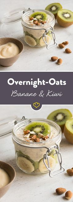 Bananen-Kiwi Overnight Oats Oatmeal + fruit + nuts = the perfect mix for an energetic start to the day. A tropical one with bananas and kiwi. Overnight Oats Chia, Oatmeal With Fruit, Oat Smoothie, Healthy Snacks, Healthy Recipes, Soup Recipes, Healthy Breakfasts, Avocado Recipes, Yogurt Recipes