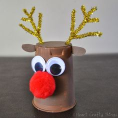 Rudolph Reindeer Craft - - Sometimes inspiration for crafts hit at such odd times.like when you're in the middle of enjoying a Yoplait Yogurt. I eyed over the yogurt cup and my mind saw the opportunity to turn it into. Christmas Crafts For Toddlers, Christmas Crafts To Make, Winter Crafts For Kids, Preschool Christmas, Christmas Activities, Toddler Crafts, Simple Christmas, Diy Crafts For Kids, Kids Christmas