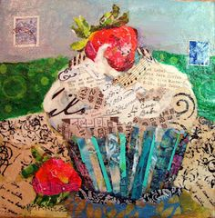 "Nancy Standlee Art Blog: Cupcake Torn Paper Collage Painting, Arles: City in France, 12084 and Daily Paintworks ""Artist Spotlight and Giveaway"" by Texas Daily Painter Nancy Standlee"