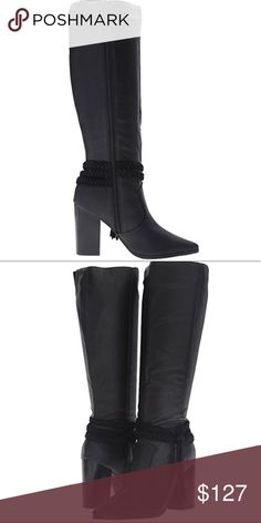 """Kenneth Cole REACTION Pull Apart Motorcycle Boot Product Description: Get your daily dose of style with this beautiful boho-chic boot. Tall shafted boot with braided and fringe ankle strap  Suede leather upper  Approx. 14"""" shaft height Side zipper closure Lightly cushioned footbed Approximately 3"""" stacked heel Size 8.5. Black Imported #LCP11271715180 Kenneth Cole Reaction Shoes Combat & Moto Boots"""