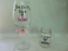 Wine and Shot Glass set, Glass of Wine, Shot of whiskey, His and Hers, Hand painted glasses, Shot Glass, Wine Glass