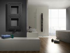 Radiator Libra Soft - Even without audio function Libra can look good in modern bathroom. Beautiful Bathrooms, Modern Bathroom, Horizontal Radiators, Industrial Design, Bathroom Medicine Cabinet, Tall Cabinet Storage, Boston, Modern Design, Bathtub