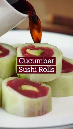 Sushi Recipes, Seafood Recipes, Asian Recipes, Appetizer Recipes, Vegetarian Recipes, Dessert Recipes, Appetizers, Cooking Recipes, Cucumber Sushi Rolls