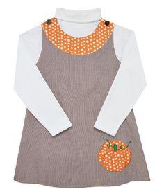 This Brown #Monday'sChild #Pumpkin Dress & White Turtleneck Tee - Infant, Toddler & Girls is perfect! #zulilyfinds