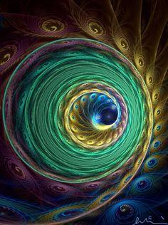 Peacock spiral fractal