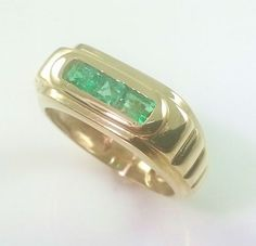 MENS 18K GOLD EMERALD BAND * 0.50CT GENUINE COLOMBIAN EMERALDS 18K GOLD RING #emerald #ring #jewelry