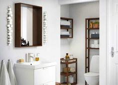 Everything for an Ikea bathroom: artist& cabin lighting LED wall light, stainless steel, LEDSJÖ - 55 €. At Ikea Dark Wood Bathroom, Modern Bathroom, Gold Bathroom, Bathroom Vanities, Bad Inspiration, Bathroom Inspiration, Bathroom Ideas, Bathroom Gallery, Bathroom Pictures