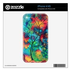 Bold Colorful Tree Painting Art iPhone 4 Skin.  $20.10