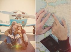 vintage airplanes and maps engagement session , travel inspired engagement shoot from Lauren Fair Photography (these are casually my friends and I can't wait to be a part of their big day in December!)