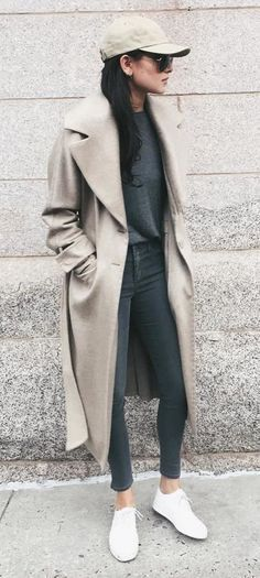 Duster Coat With a Groutfit, Sneakers, and a Cap