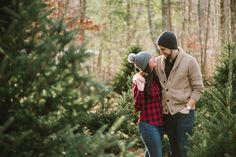 Christmas tree engagement shoot