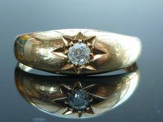 Stunning 18ct gold George V Old Cut diamond gypsy star set ring   eBay