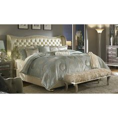 AICO Hollywood Swank Queen Upholstered Bed By Michael Amini