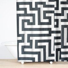 Meander Shower Curtain Gray, $40, now featured on Fab.