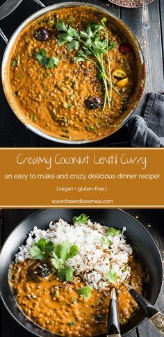 Creamy Coconut Lentil Curry takes less than an hour to make (mostly hands off time) and is packed full of delicious Indian flavors. It's a healthy vegan recipe that makes a perfect meatless Monday dinner recipe. Coconut Lentil Curry, Indian Lentil Curry, Vegan Curry, Cooking Recipes, Healthy Recipes, Fast Recipes, Dairy Free Rice Recipes, Clean Food Recipes, Vegan Recipes For Kids
