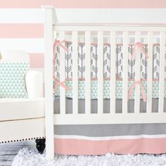 Grey And Coral Baby Bedding