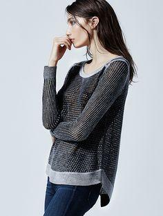 Alexandra Agoston for White + Warren || Printed Mesh Shirtail