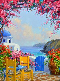 (usa) Santorini of Greece by Mikki Senkarik ). Greece Drawing, Greece Painting, Watercolor Paintings For Beginners, Watercolor Art, Scenary Paintings, Poster Color Painting, Easy Canvas Painting, Mini Canvas Art, Landscape Art