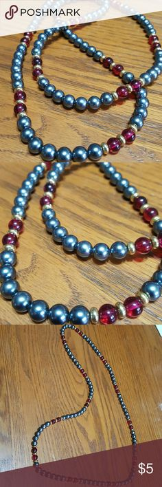 "Beaded 34"" Necklace Beautiful gray beads accented with clear red & gold beads.  Feel free to ask any questions before purchasing.   Thanks for shopping my closet! Jewelry Necklaces"