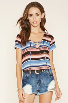 Striped Lace-Up Crop Top #thelatest