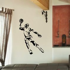 Shop for Jumping Basketball Player Vinyl Wall Art Decal Sticker. Get free delivery On EVERYTHING* Overstock - Your Online Art Gallery Shop! Basketball Room, Basketball Players, Wall Stickers Sports, Basket Ball, Diy Bedroom Decor, Wall Decor, Vinyl Wall Decals, Gym Fitness, Office Decor