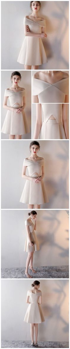 CHIC A-LINE OFF-THE-SHOULDER SIMPLE CHIFFON MODEST SHORT PROM DRESS EVENING DRESS AM355