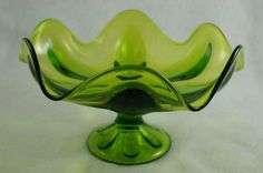 Viking Glass Co Epic Vintage Green Compote Bowl