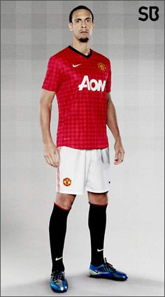 Rio Ferdinand with The new Manchester United Home 2012-13 shirt