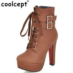 edf1ecc11de023 Coolcept Fashion Women Boots High Heels Ankle Boots Platform Shoes Brand  Women Shoes Autumn Winter Botas Mujer Size 30 48-in Ankle Boots from Shoes  on ...